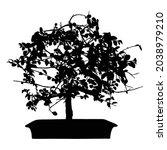 bonsai tree black silhouette on ... | Shutterstock .eps vector #2038979210