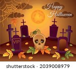 halloween night cemetery with... | Shutterstock .eps vector #2039008979