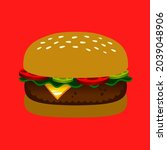 big  delicious burger. tasty... | Shutterstock .eps vector #2039048906