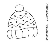 knit beanie hat with dots ... | Shutterstock .eps vector #2039050880