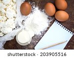 eggs  flour  sour cream ... | Shutterstock . vector #203905516