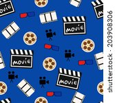 movie pattern background | Shutterstock .eps vector #203908306