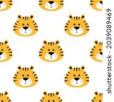 seamless pattern with tiger...   Shutterstock .eps vector #2039089469