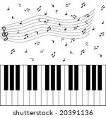 piano and music notes | Shutterstock .eps vector #20391136