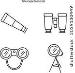 telescope icons set isolated on ...
