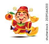 cartoon cute god of wealth... | Shutterstock .eps vector #2039166203