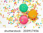 top view of colorful macaroons   Shutterstock . vector #203917456