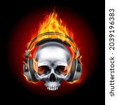 flaming metall skull music with ...   Shutterstock .eps vector #2039196383