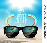 vector summer blurred beach ... | Shutterstock .eps vector #203920969