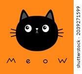 black kitten cat round head... | Shutterstock . vector #2039271599