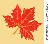 simplicity maple leaf freehand... | Shutterstock .eps vector #2039435699