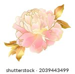 cream pink peony flower with...   Shutterstock .eps vector #2039443499