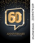 anniversary 60. gold 3d numbers....   Shutterstock .eps vector #2039479109