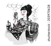 girl in the italian cafe.... | Shutterstock .eps vector #203970628