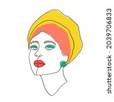 female face with bright make up ... | Shutterstock .eps vector #2039706833