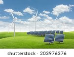 solar energy panels and wind... | Shutterstock . vector #203976376