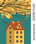 autumn landscape with yellowed... | Shutterstock .eps vector #2039872100
