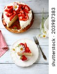 piece of cake with mascarpone... | Shutterstock . vector #203987383