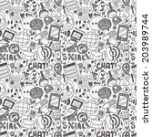 seamless doodle communication... | Shutterstock .eps vector #203989744