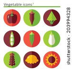 vegetable flat icons set in... | Shutterstock .eps vector #203994328