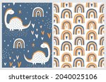 cute simple seamless vector... | Shutterstock .eps vector #2040025106