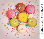 colorful macaroons against... | Shutterstock . vector #204007654