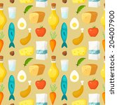 healthy food vector seamless... | Shutterstock .eps vector #204007900