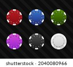 colored casino chips vector... | Shutterstock .eps vector #2040080966