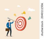 businessman sticks an arrow at...   Shutterstock .eps vector #2040111506