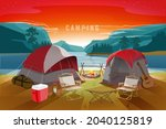 camping scene nearby the lake... | Shutterstock .eps vector #2040125819