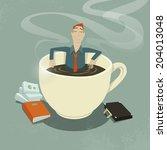 businessman relaxing in coffee...   Shutterstock .eps vector #204013048