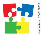 puzzle piece vector connection... | Shutterstock .eps vector #2040180710