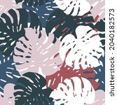 exotic tropical monstera leaves ... | Shutterstock .eps vector #2040182573