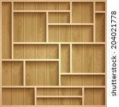 empty wooden shelves  photo... | Shutterstock .eps vector #204021778