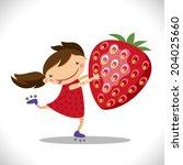 illustration of a cute girl... | Shutterstock .eps vector #204025660