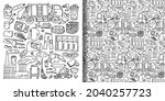 garbage doodle objects set and... | Shutterstock .eps vector #2040257723