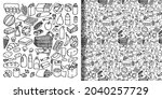 supermarket hand drawn objects... | Shutterstock .eps vector #2040257729