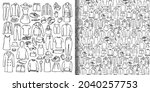 doodle set and seamless pattern ... | Shutterstock .eps vector #2040257753