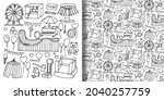 attraction doodle objects set... | Shutterstock .eps vector #2040257759