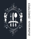 vector menu decorated with a... | Shutterstock .eps vector #2040270923