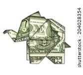 origami dollar elephant | Shutterstock . vector #204028354
