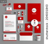 red stationery template design... | Shutterstock .eps vector #204031843