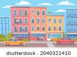 cute colorful cartoon cityscape ... | Shutterstock .eps vector #2040321410