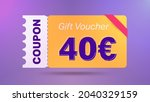 40 euro coupon promotion sale... | Shutterstock .eps vector #2040329159