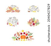 set of autumn vignettes. fall... | Shutterstock .eps vector #2040427829