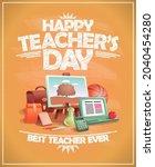 happy teacher's day card ... | Shutterstock .eps vector #2040454280