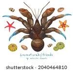 set of sea creature watercolor...   Shutterstock . vector #2040464810