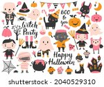 cute halloween set with a witch ... | Shutterstock .eps vector #2040529310