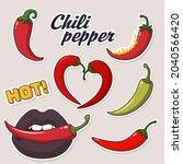 vector food icon chili pepper... | Shutterstock . vector #2040566420