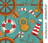 sea seamless with flags ... | Shutterstock .eps vector #204064519